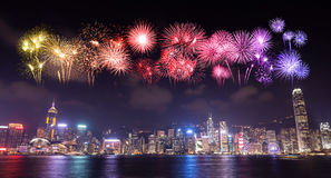 Fajerwerku festiwal nad Hong Kong miastem Obrazy Royalty Free