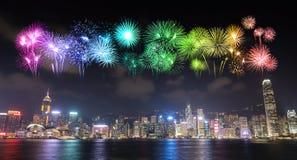 Fajerwerku festiwal nad Hong Kong miastem Fotografia Stock