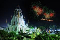 Fajerwerku Nakhon Khiri Dziejowy park Fotografia Stock