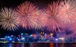 Fajerwerku pokaz, Hong Kong 2017 Zdjęcia Royalty Free