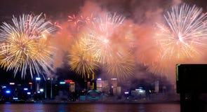 Fajerwerku pokaz na Chińskim święcie państwowym w Hong Kong Obraz Stock