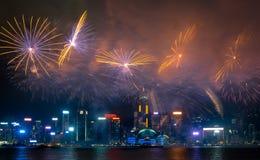 Fajerwerku pokaz na Chińskim święcie państwowym w Hong Kong Obraz Royalty Free