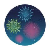 Fajerwerku świętowania wybuchu nocy ikona gdy dekoracyjna tło grafika stylizował wektorowe zawijas fala Fotografia Stock