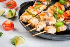 Fajita chicken kebabs stock photography