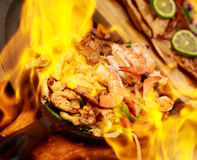 Fajita in Flame Stock Photos