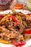 Fajita Peppers with Chicken Breast Meat Stock Photos