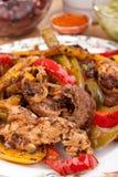 Fajita Peppers with Chicken Breast Meat. Fajita Peppers Mixed with Chicken Breast Meat and Guacamole and Salsa Stock Photos