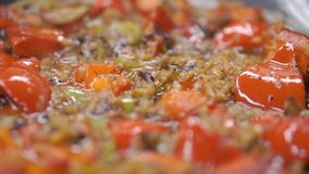 Fajitas βόειου κρέατος και πιπέρια κουδουνιών συνδετήρας Μεξικάνικα fajitas βόειου κρέατος στο skillet σιδήρου Κλείστε - επάνω τω απόθεμα βίντεο