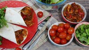 Fajitas with chicken , mexican cuisine, tex-mex cuisine. Fajitas with chicken , a mexican cuisine, tex-mex cuisine stock footage