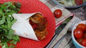 Fajitas with chicken , mexican cuisine, tex-mex cuisine. Fajitas with chicken ,a mexican cuisine, tex-mex cuisine stock footage