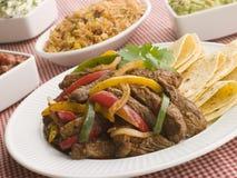 Fajitas de bifteck avec le Salsa de guacamole de Jambalaya Photo stock