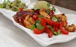 Fajitas de poulet avec le Salsa de chaux Images stock