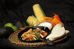 Fajitas e ingredientes Imagens de Stock