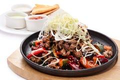 Fajitas: Fleisch mit Gemüse Stockbilder