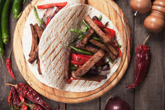 Fajitas with grilled vegetable Royalty Free Stock Images