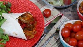 Fajitas med höna, mexikansk kokkonst, Tex-mex kokkonst lager videofilmer