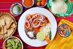 Fajitas mexican food with rice frijoles. Chili sauce and nachos Royalty Free Stock Image