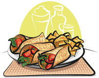 Fajitas and nachos chips Stock Images
