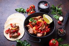 Fajitas with peppers for cooking Mexican tacos Stock Image