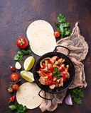 Fajitas with peppers for cooking Mexican tacos Stock Images