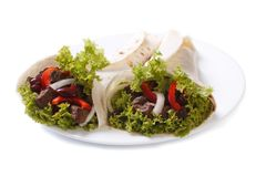 Fajitas on a plate isolated Royalty Free Stock Photo