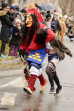 Fake abduction of dreadful witch mask at Carnival parade, Stuttg Royalty Free Stock Photos