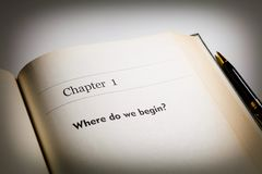 Where do we begin. Fake book. chapter one, Where do we begin royalty free stock photos