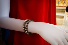 Fake bracelet diamond for accessory on mannequin. In clothes shop Royalty Free Stock Image