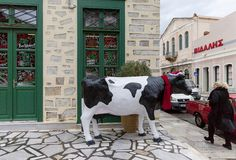 Fake Bull Outside Butcher`s Shop. Editorial Image stock photo
