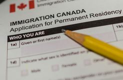 Immigration Canada application form Stock Photography