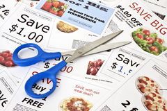 Fake coupons with Scissors Royalty Free Stock Photos