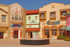 A fake cowboy town in a movie studio. A fake cowboy town with fountain in the middle in a Ramoji Film City movie studio in India Stock Photography