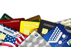 Fake credit cards. A bunch of fake credit cards over white with clipping path - all logos, names, number and designs are fake vector illustration