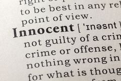 Dictionary definition of the word innocent stock image