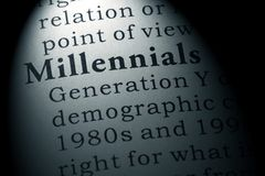 Dictionary definition of the word millennials stock image