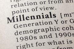 Dictionary definition of the word millennials royalty free stock images