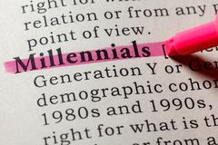 Dictionary definition of the word millennials royalty free stock photography