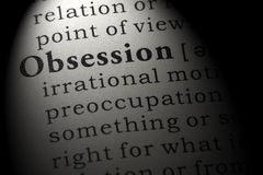 Dictionary definition of the word obsession. Fake Dictionary, Dictionary definition of the word obsession . including key descriptive words stock image