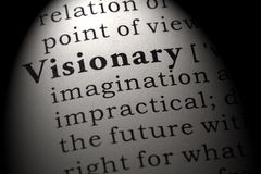 Dictionary definition of the word visionary. Fake Dictionary, Dictionary definition of the word visionary . including key descriptive words stock image