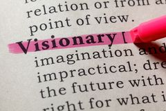 Dictionary definition of the word visionary. Fake Dictionary, Dictionary definition of the word visionary . including key descriptive words stock photo