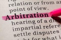 Definition of arbitration. Fake Dictionary, Dictionary definition of the word arbitration. including key descriptive words royalty free stock photos