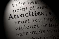 Definition of atrocities. Fake Dictionary, Dictionary definition of the word atrocities. including key descriptive words stock photography