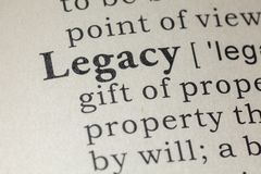 Definition of legacy. Fake Dictionary, Dictionary definition of the word legacy. including key descriptive words royalty free stock photo