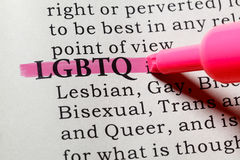 Definition of LGBTQ. Fake Dictionary, Dictionary definition of the word LGBTQ. including key descriptive words royalty free stock images