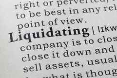 Definition of  liquidating Royalty Free Stock Photography