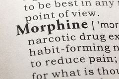 Definition of morphine. Fake Dictionary, Dictionary definition of the word morphine. including key descriptive words royalty free stock images
