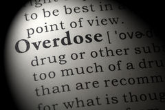 Definition of overdose Stock Image