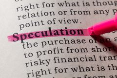 Definition of speculation. Fake Dictionary, Dictionary definition of the word speculation. including key descriptive words Stock Images