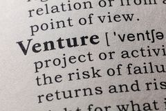 Definition of Venture. Fake Dictionary, Dictionary definition of the word Venture. including key descriptive words Stock Photography