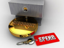 Fake Discount. A discount that can be availed via spending more Royalty Free Stock Photography